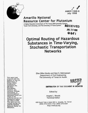 Primary view of object titled 'Optimal routing of hazardous substances in time-varying, stochastic transportation networks'.