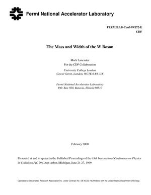 Primary view of object titled 'The mass and width of the W boson'.