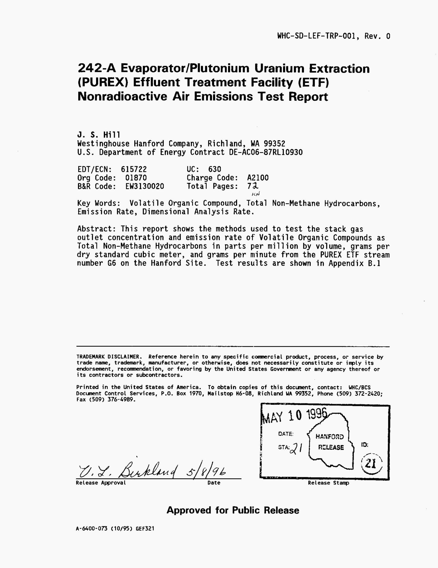 242-A Evaporator/plutonium uranium extraction (PUREX