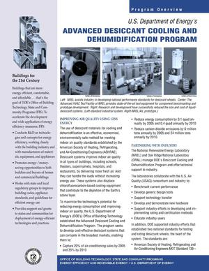 Primary view of object titled 'Advanced Desiccant Cooling and Dehumidification Program'.