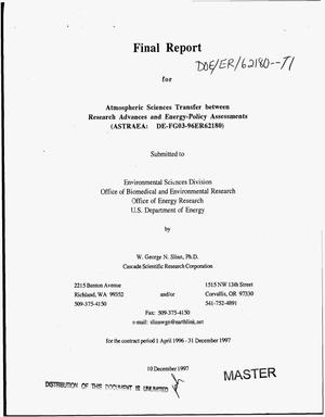 Primary view of object titled 'Atmospheric sciences transfer between research advances and energy-policy assessments (ASTRAEA). Final report, 1 April 1996--31 December 1997'.