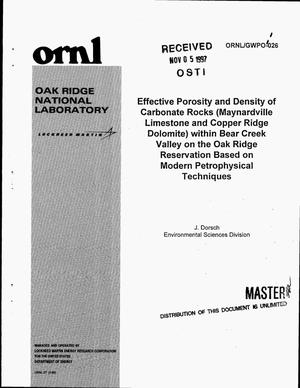 Primary view of object titled 'Effective porosity and density of carbonate rocks (Maynardville Limestone and Copper Ridge Dolomite) within Bear Creek Valley on the Oak Ridge Reservation based on modern petrophysical techniques'.