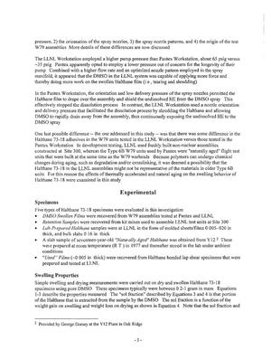 Swelling behavior of halthane 73-18 polyurethane adhesive in