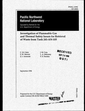 Primary view of object titled 'Investigation of flammable gas and thermal safety issues for retrieval of waste from Tank 241-AN-105'.
