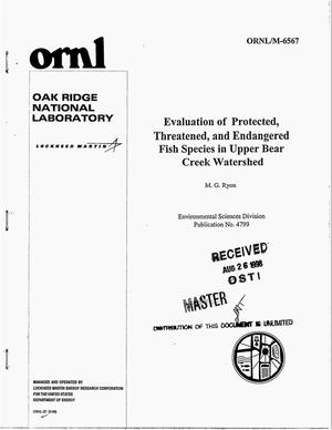 Primary view of object titled 'Evaluation of protected, threatened, and endangered fish species in Upper Bear Creek watershed'.