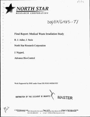 Primary view of object titled 'Medical waste irradiation study. Final report'.