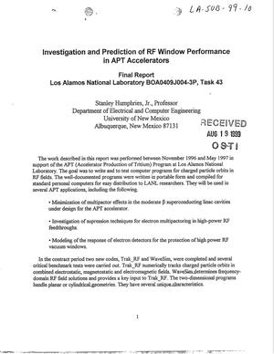 Primary view of object titled 'Investigation and Prediction of RF Window Performance in APT Accelerators'.