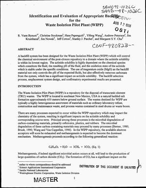 Primary view of object titled 'Identification and evaluation of appropriate backfills for the Waste Isolation Pilot Plant (WIPP)'.
