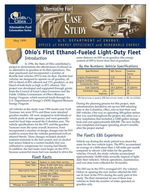 Primary view of object titled 'Ohio's first ethanol-fueled light-duty fleet: Clean cities alternative fuel information series case study'.