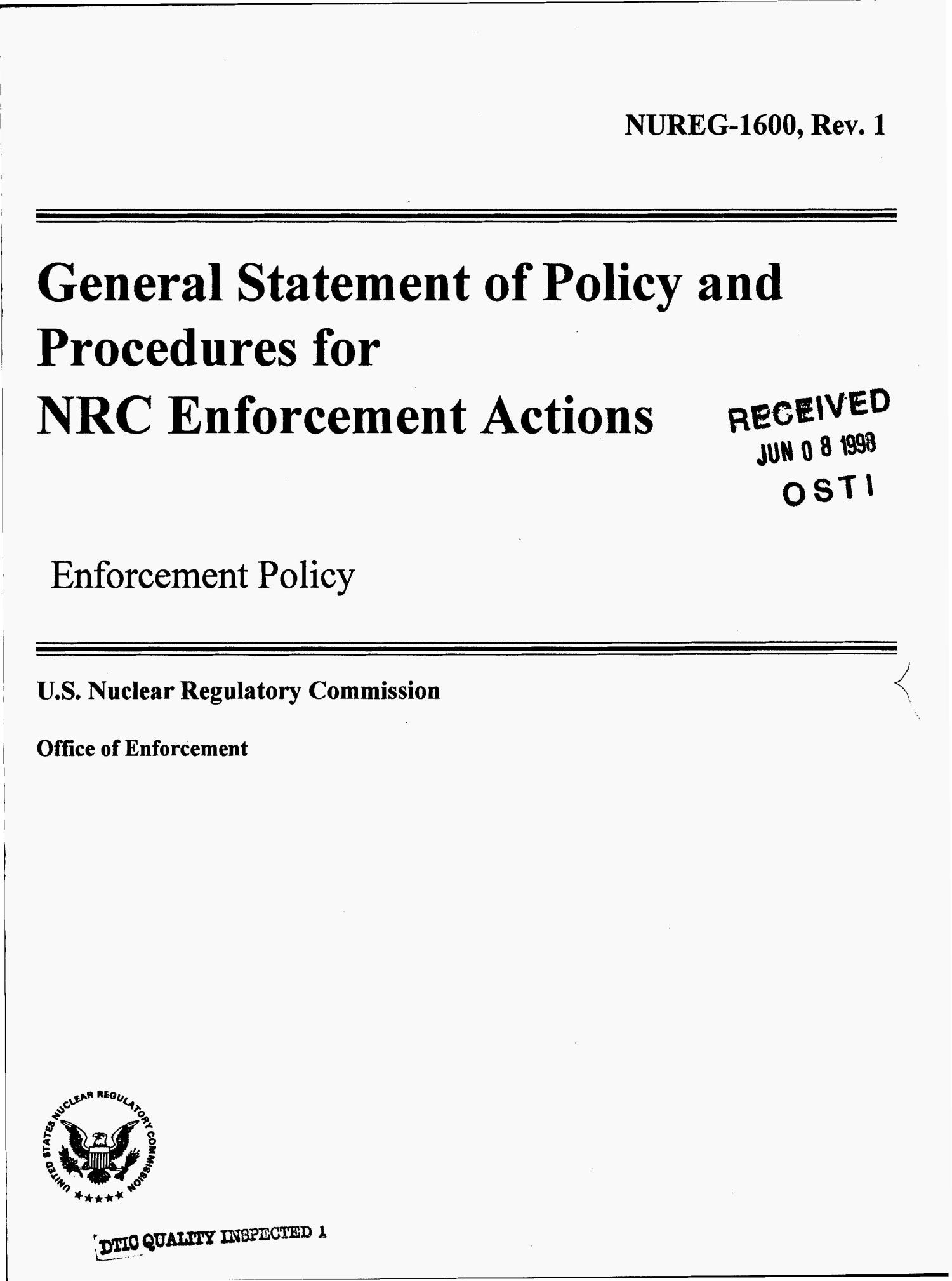 General statement of policy and procedures for NRC enforcement actions: Enforcement policy. Revision 1                                                                                                      [Sequence #]: 1 of 32