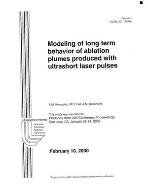 Primary view of object titled 'Modeling of long term behavior of ablation plumes produced with ultrashort laser pulses'.
