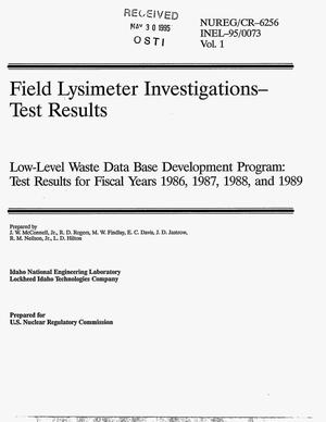 Primary view of object titled 'Field lysimeter investigations - test results. Low-level waste data base development program: Test results for fiscal years 1986, 1987, 1988, and 1989'.