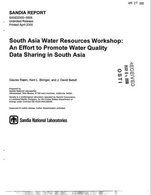Primary view of object titled 'South Asia Water Resources Workshop: An effort to promote water quality data sharing in South Asia'.
