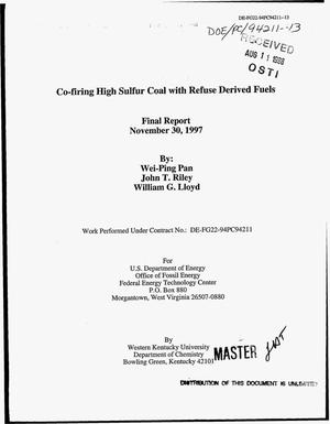 Primary view of object titled 'Co-firing high sulfur coal with refuse derived fuels. Final report'.
