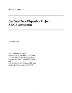 Primary view of object titled 'Confined Zone Dispersion Project: A DOE assessment'.