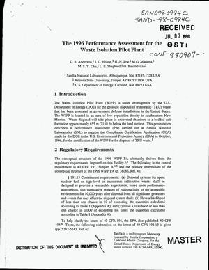 Primary view of object titled 'The 1996 performance assessment for the Waste Isolation Pilot Plant'.