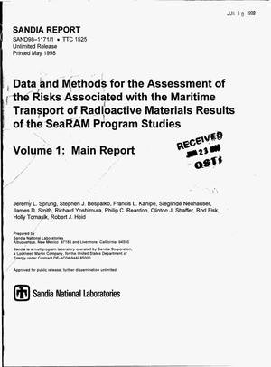 Primary view of object titled 'Data and methods for the assessment of the risks associated with the maritime transport of radioactive materials: Results of the SeaRAM program studies. Volume 1 -- Main report'.