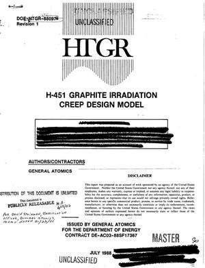 Primary view of object titled 'H-451 graphite irradiation creep design model; Revision 1'.