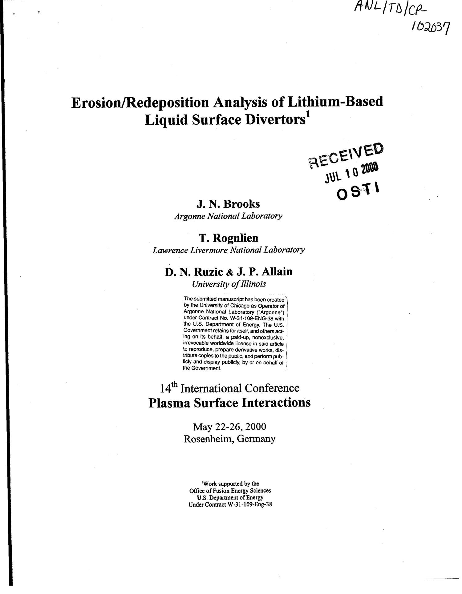 Erosion/redeposition analysis of lithium-based liquid surface divertors.                                                                                                      [Sequence #]: 1 of 22