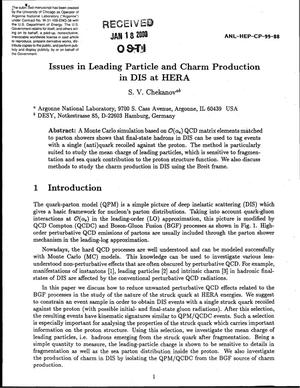 Primary view of object titled 'Issues in leading particle and charm production in DIS at HERA.'.