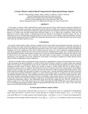 Primary view of object titled 'A linear mixture analysis-based compression for hyperspectral image analysis'.