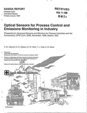 Primary view of object titled 'Optical sensors for process control and emissions monitoring in industry'.