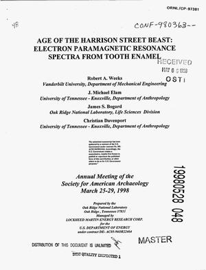 Primary view of object titled 'Age of the Harrison Street Beast: Electron paramagnetic resonance spectra from tooth enamel'.