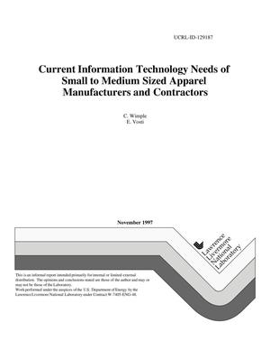 Primary view of object titled 'Current information technology needs of small to medium sized apparel manufacturers and contractors'.