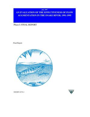 Primary view of object titled 'An Evaluation of the Effectiveness of Flow Augmentation in the Snake River, 1991-1995 : Phase I: Final Report'.