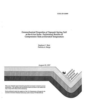 Primary view of object titled 'Geomechanical properties of Topopah Spring Tuff at the 0.5-m scale: preliminary results of compression tests at elevated temperature'.