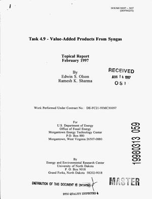 Primary view of object titled 'Task 4.9 -- Value-added products from syngas'.