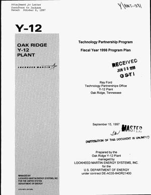 Primary view of object titled 'Technology Partnership Program fiscal year 1998 program plan'.