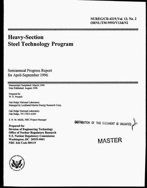 Primary view of object titled 'Heavy-section steel technology program: Semiannual progress report for April--September 1996. Volume 13, Number 2'.