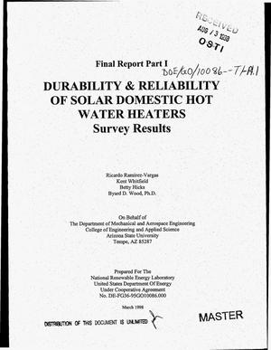 Primary view of object titled 'Durability and reliability of solar domestic hot water heaters: Survey results. Final report, Part 1'.