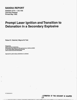 Primary view of object titled 'Prompt laser ignition and transition to detonation in a secondary explosive'.