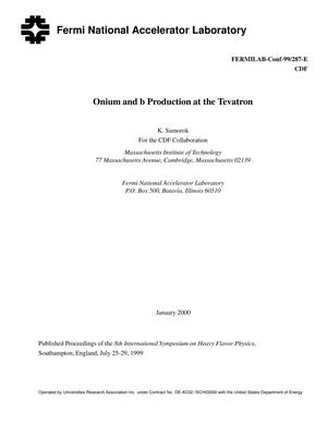 Primary view of object titled 'Onium and b production at the Tevatron'.