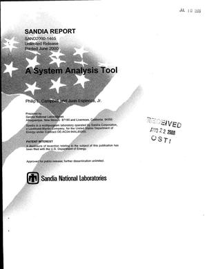 Primary view of object titled 'A System Analysis Tool'.