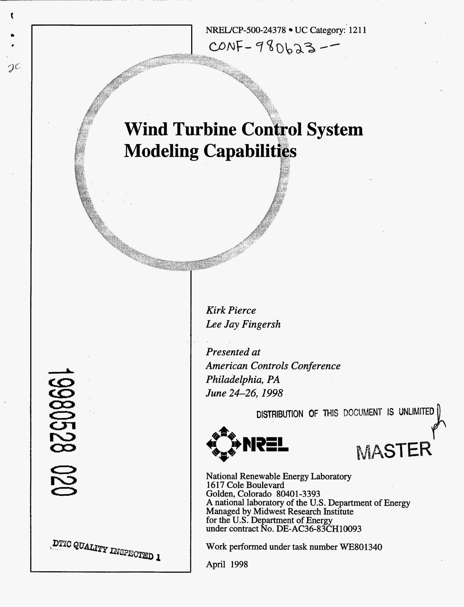 Wind turbine control system modeling capabilities                                                                                                      [Sequence #]: 1 of 8