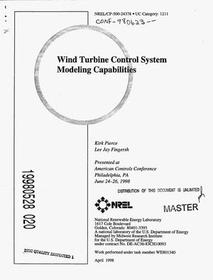 Primary view of object titled 'Wind turbine control system modeling capabilities'.