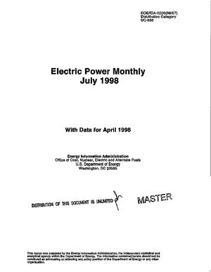 Primary view of object titled 'Electric power monthly, July 1998 with data for April 1998'.