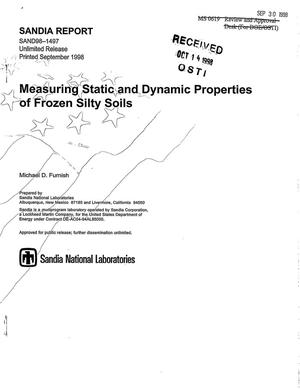 Primary view of object titled 'Measuring Static and Dynamic Properties of Frozen Silty Soils'.