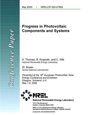 Primary view of object titled 'Progress in photovoltaic components and systems'.