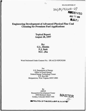 Primary view of object titled 'Engineering development of advanced physical fine coal cleaning for premium fuel applications'.