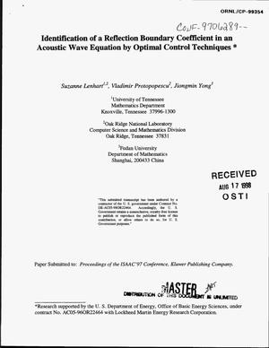 Primary view of object titled 'Identification of a reflection boundary coefficient in an acoustic wave equation by optimal control techniques'.