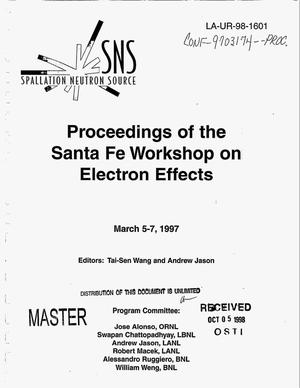 Primary view of object titled 'Proceedings of the Santa Fe workshop on electron effects'.