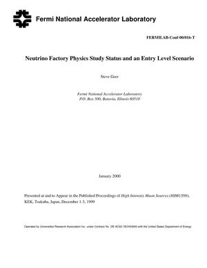 Primary view of object titled 'Neutrino factory physics study status and an entry level scenario'.