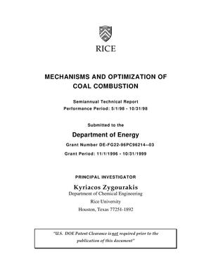 Primary view of object titled 'Mechanisms and optimization of coal combustion. Semiannual report, May 1, 1998--October 31, 1998'.