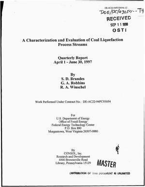 Primary view of object titled 'A characterization and evaluation of coal liquefaction process streams. Quarterly report, April 1--June 30, 1997'.