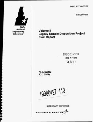 Primary view of object titled 'Legacy sample disposition project. Volume 2: Final report'.