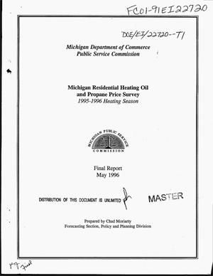 Primary view of object titled 'Michigan residential heating oil and propane price survey: 1995--1996 heating season. Final report'.